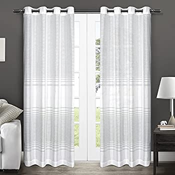 exclusive home curtains pesaro burnout sheer grommet top window curtain panel pair winter white
