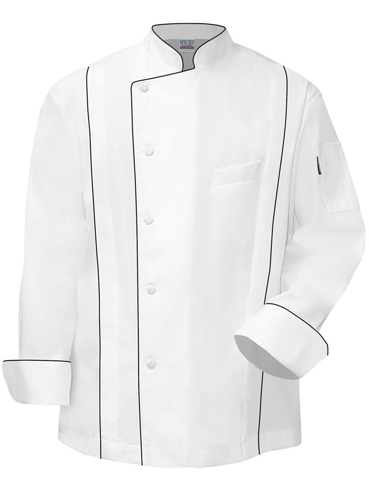 Newchef Fashion Master Chef Coat White with Black Trim XL White by Newchef Fashion