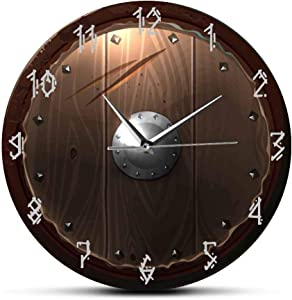 The Geeky Days Barbarian Shield Indoor Silent Movement Wall Clcok 3D Vision Hanging Wall Watch Viking Barbarian Medieval Man Cave Home Decor
