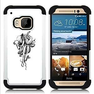 """HTC One M9 /M9s / One Hima - 3 en 1 impreso colorido de Altas Prestaciones PC Funda chaqueta Negro cubierta gel silicona suave (Pulpo negro Kraken Monster"""")"""