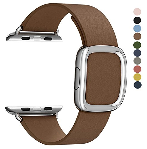 JSGJMY Apple Watch Band 38mm Cuff Leather Loop Original Modern Buckle With Magnetic Clasp Replacement Strap for iwatch Series1 Series2 (Brown+Silver Buckle, 38MM S)