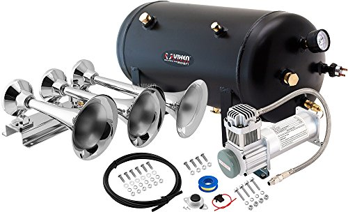 - Vixen Horns Loud 152dB 3/Triple Chrome Trumpet Train Air Horn with 5 Gallon Tank and 200 PSI Compressor Full/Complete Onboard System/Kit VXO8350/3418