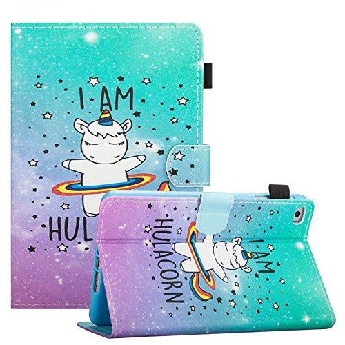 iPad Mini 1/2/3/4 Case, Dteck Slim Fit Folio Stand [Stylus Slot] PU Leather Case with Auto Wake/Sleep Smart Magnetic Cover for Apple iPad Mini 4/Mini 3 /Mini 2 /Mini 1, Hula Unicorn