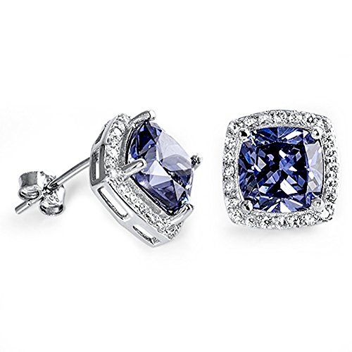 Halo Stud Earring Princess Cut Simulated Blue Tanzanite Round CZ 925 Sterling Silver