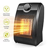 Space Heater, Quiet Mini Electric Ceramic Heater, Adjustable Thermostat, Over-Heat Protection and Multifunctional Portable 750W/1500W Heater Fan for Home