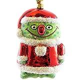Jinglenog GOOGLIE GREEN Blown Glass Ornament Christmas Monster 80010