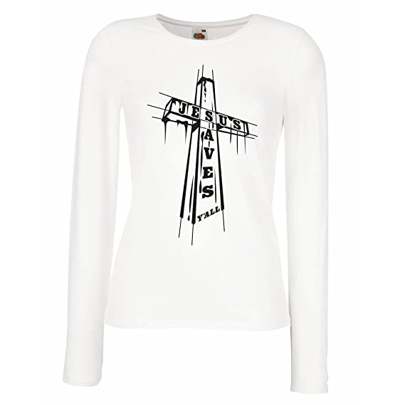 Manga De me Camisetas Todos Jesús Los A Salva Para Mujer Larga Lepni O4tgxO