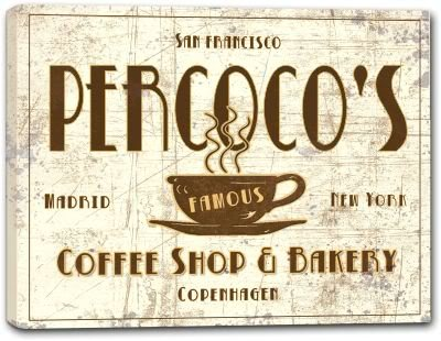 "PERCOCO'S Coffee Shop & Bakery Stretched Canvas Print 24"" x 30"""