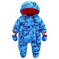 WYTbaby Baby Romper Hooded Snowsuit Toddler Winter Overall One-Piece Suits 12-18 Months Blue