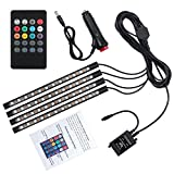 Justech Car LED Strip Lights 4PCS 48LEDs Multicolor Music Car Interior Atmosphere Lights RGB SMD LED Car Mood Lights with Sound Active Function and Wireless Remote Control for Car TV Home-Car Charger Version
