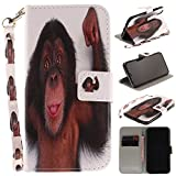 Misteem Case for iPhone X / XS Animal, Cartoon Anime Comic Leather Case Wallet with Bookstyle Magnetic Closure Card Slot Holder Flip Cover Shockproof Slim Creative Pattern Shell Protective Cover for iPhone XS / X [Monkey]