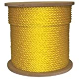 3/4'' x 600' Twisted Yellow Poly Rope 3-Strand Polypropylene Braided Safety Anchor Line Climbing Rope