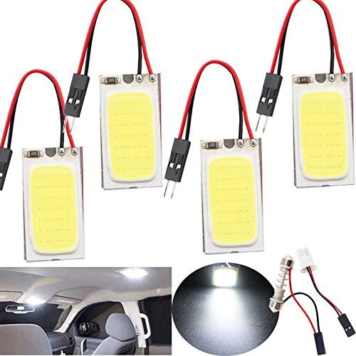 5PCS White 48 SMD COB LED T10 4W 12V Car Interior Panel Lights Dome Lamp Adapter