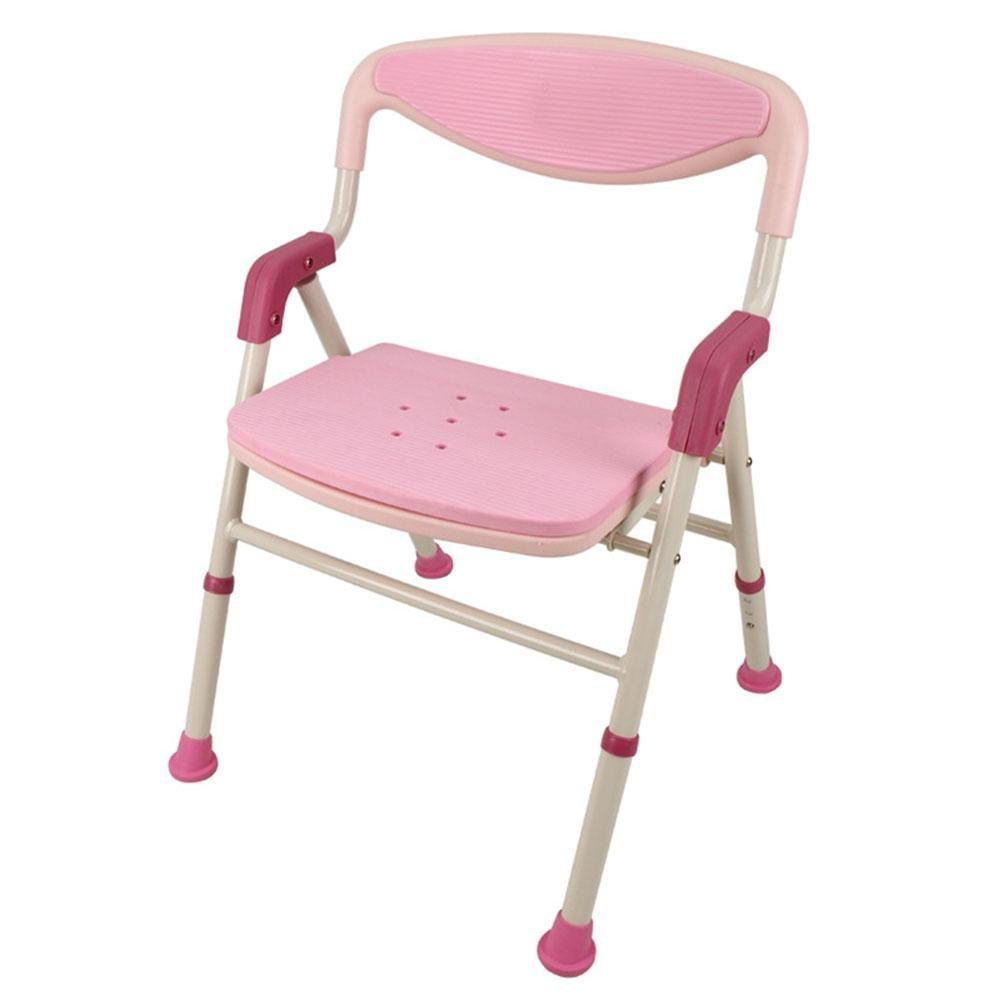 TSAR003 Aluminum Alloy Bathroom Shower Chair, Foldable, Adjustable Height, Can Stand, Especially For The Elderly, Children, Pregnant Women, 220 Pounds Load , Pink by TSAR003