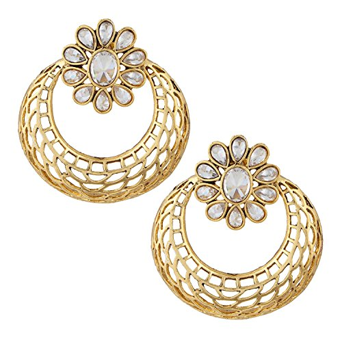 Gold Plated Antique Finish Jaali Chaand Bali Earring For Women ()