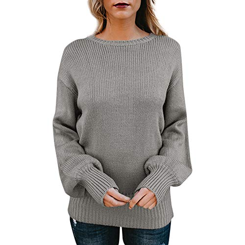 iFOMO Women's Long Sleeve Solid Color Casual Cutout Bowknot V Neck Backless Halter Knitted Sweater Top Blouse(Gray,M)