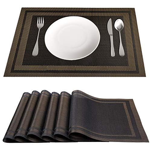 Placemat for Kitchen Dining Table Set of 6 Washable PVC Placemats, 18 x12 Inches Stain Resistant Anti-Skid Coffee Mat Easy to Clean, Heat-Resistant Woven Vinyl Table Mats Home Decoration (Black Gold)