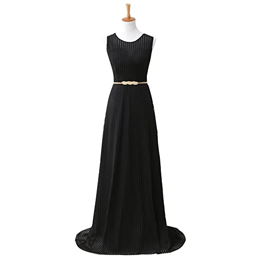 898035c781f Amazon.com: HUICHENGYAO Women's O Neck Black Evening Dresses A Line Formal  Gown With Belt: Clothing