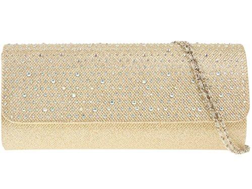 Girly HandBags Satin Gewebt Clutch Tasche Diamanten Gold