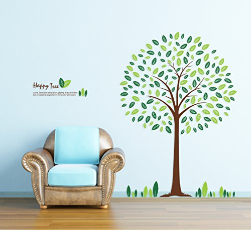TOTOMO Happy Tree Wall Decals Removable Wall Decor Decorative Painting Supplies & Wall Treatments Stickers for Girls Kids Living Room Bedroom
