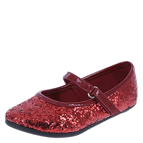 [SmartFit Girls' Red Glitter Girls' Toddler Chelsea Ballet Flat 9 Regular] (Toddler Red Glitter Shoes)