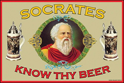 ArtParisienne Know Thy Beer Socrates 24x36-inch Paper Giclée Print