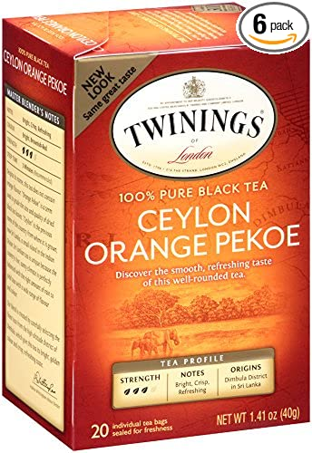 Twinings Black Tea, Ceylon, 20 Count Bagged Tea (6 Pack)