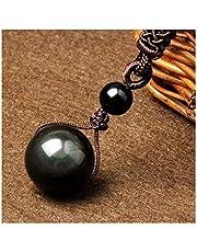 Zwart Obsidian Rainbow Eye Ball Ketting Transfer Lucky Love Natural Stone Buddhism Hanger NecLaces voor Dames Heren Vier Maten