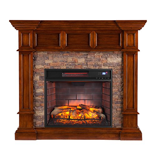 - Southern Enterprises Mulkey Corner Infrared Fireplace, Buckeye Oak Finish with Faux Stone