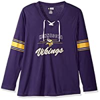 NFL womens VIKINGS L/S JERSEY V NECK TEE
