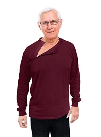 446ffc98f Comfy Care Unisex Chest Port Zipper Shirts Chemo | Gift for Chemotherapy  Cancer Patients Maroon