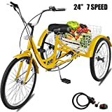 Happybuy 24 Inch Adult Tricycle Series 6 7 Speed 3 Wheel Bike Adult Tricycle Trike Cruise Bike Large Size Basket for Recreation Shopping Exercise Men's Women's Bike (Yellow 7Speed)