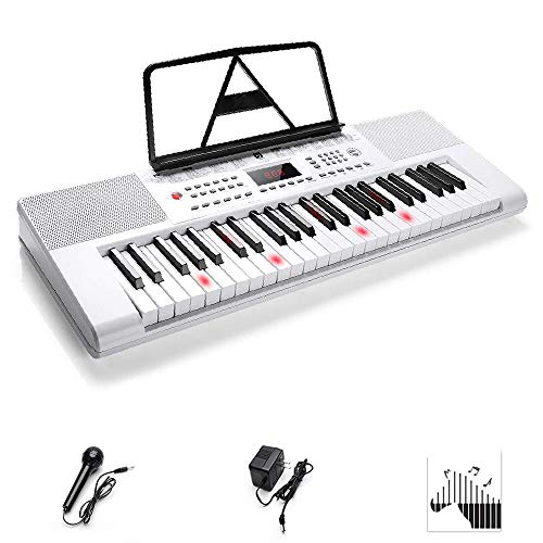 [해외]Vangoa 49 키 전자 피아노 키보드 LCD 디스플레이 스크린 마이크 및 전원 어댑터 포함 / Electronic Keyboard Piano, 49-Lighted Key Electric Piano Keyboard with 3 Teaching Mode, Microphone, 200 Tones, 200 Rhythm, 50 Demo Songs, 5 Percussi...