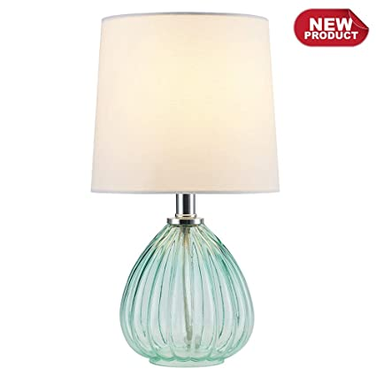 COTULIN Delicate Style Green Glass Base Bedside Living Room Bedroom Table  Lamp,End Table Lamp