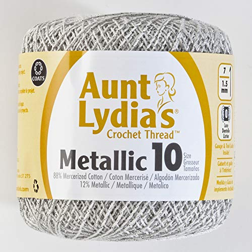 (Coats Crochet Metallic Crochet Thread, 10, White/Silver)