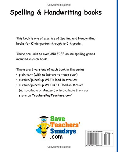 Workbook 2nd grade spelling worksheets : 5th Grade Spelling (Spelling workbooks from SaveTeachersSundays ...