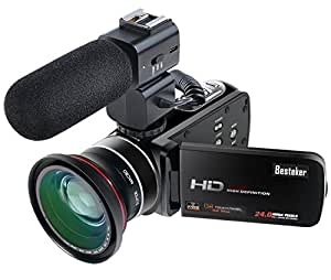 Camcorder,Besteker 1080P 30FPS Wifi Camcorders with External Microphone Full HD Portable Digital Video Camera and Wide Angle Lens