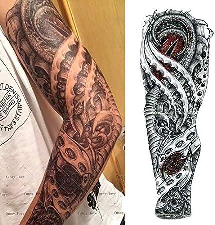 Plein De Bras Tatouage Temporaire Impermeable Cool Gris Noir Dragon Mecanique Faux Faux Tatouages 3d Grande Taille 48 17cm Grand Tatouage Pour Amazon Fr Cuisine Maison