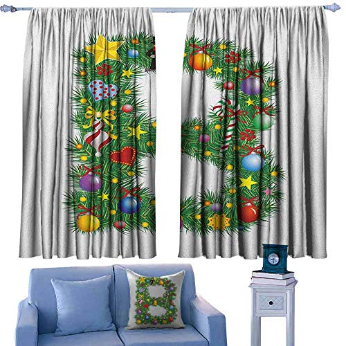 Letter B Bedroom windproofcurtain Tasty Candy Cane and Figure with Top Hat Suit Christmas Tree Design with B Print Suitable for Bedroom Living Room Study, etc.55 Wx63 L Multicolor