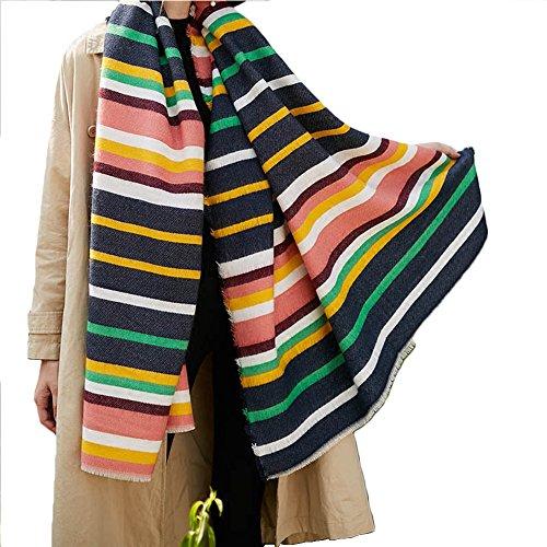 - Promini Women's Soft Stripes Long Scarf with Tassels Winter Warm Blanket Large Wrap Shawl 79