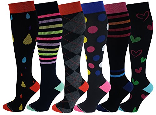 Differenttouch 6 Pairs Women Moderate 15-20 mmHg Anti-Fatigue Compression Knee High Socks