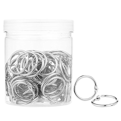 Pack of 100 Binder Rings - Round Photo Album Book Loose Leaf Metal Ring Binder Clips with Plastic Container Jar