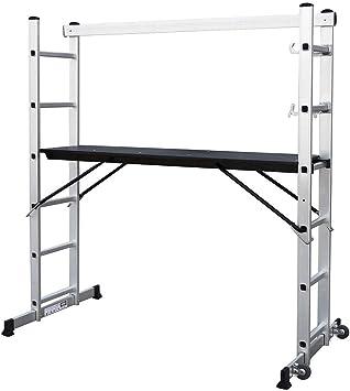 Todeco - Andamio, Escalera Multiusos - Carga máxima: 150 kg - Tamaño de la plataforma: 147 x 40,5 cm - 168 x 160 x 45 cm, EN 131: Amazon.es: Bricolaje y herramientas