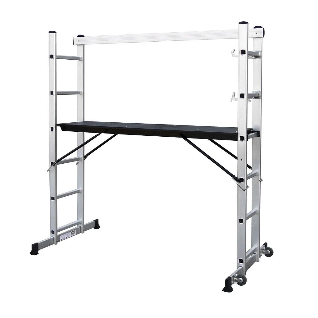 Todeco - Scaffolding, Multi Purpose Ladder - Maximum load: 150 kg - Platform size: 147 x 40.5 cm - 5.5 x 5.25 x 1.48 feet, EN 131