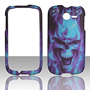 2D Blue Skull Huawei Ascend Y M866 TracFone , U.S.Cellular Case Cover Hard Phone Case Snap-on Cover Rubberized Touch Faceplates