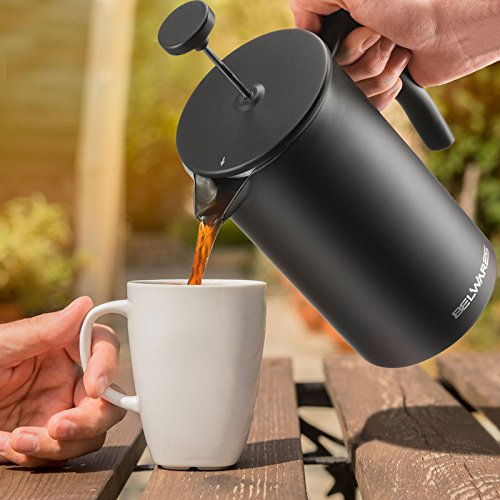 French Press Coffee Maker with Extra Filters for a Richer and Fuller Coffee Flavor, Designed with Double Wall Black Stainless Steel to Preserve Hot Coffee Temperature (34oz) by Belwares (Image #8)