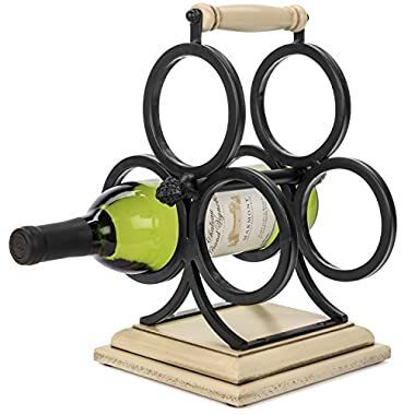 Wellington Countertop Wrought Iron Metal & Wood Wine Rack 3 Bottle Holder