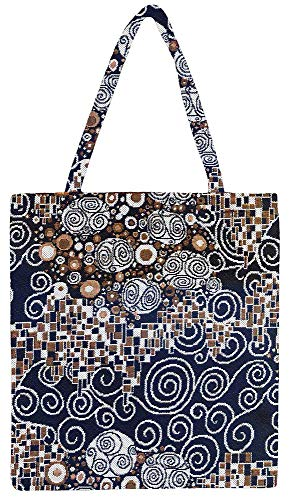(Signare Tapestry Black & White Reusable Grocery Eco Friendly Shopping Tote Bag in Fashion Pattern Design (Gustav Klimt's Kiss))