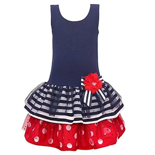 (Bonnie Jean Little Girls Navy Bow Flower Stripes Polka Dots Sleeveless Dress 2T)