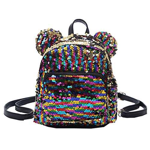 Backpack Deals,Fashion Lady Sequins Panelled School Backpack Satchel Girls Student Travel Small Shoulder Bags